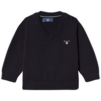 Gant Navy Cotton V Neck Jumper 405