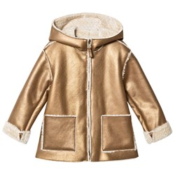 Il Gufo Gold Shearling Hooded Coat