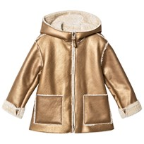Il Gufo Gold Shearling Hooded Coat 245