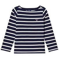 Gant Navy and White Stripe Boat Neck Jumper 433