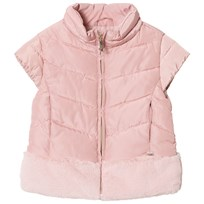 Mayoral Pale Pink Padded Faux Fur Gilet 11