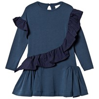No Added Sugar Blue Jersey Dress with Ruffle Detail INDIGO GLAZE