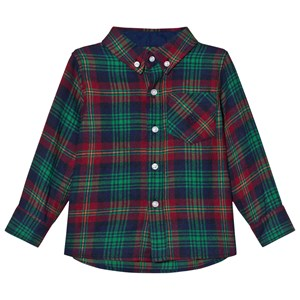 Image of Andy & Evan Navy/Red/Green Plaid Flannel Shirt 4 years (2743770709)