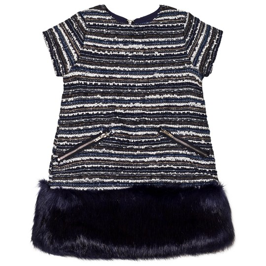 Andy & Evan Navy Multi Stripes Brocade Fur Dress NVE NVE