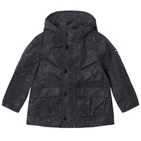 Tommy Hilfiger Black All Over Print Hooded Raincoat 923