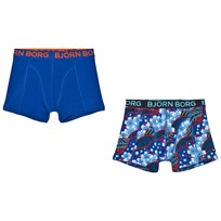 Bjorn Borg 2 Pack of Navy Print and Solid Trunks 71021 SURF THE WEB