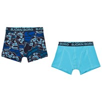 Bjorn Borg 2 Pack of Blue Branded Print and Solid Trunks 70291 TOTAL ECLIPSE
