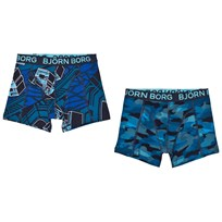 Bjorn Borg 2 Pack of Black and Grey, Camo and Branded Trunks 90011 BLACK