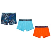 Bjorn Borg 3 Pack of Orange, Blue and Print Trunks 7091 TOTAL ECLIPSE