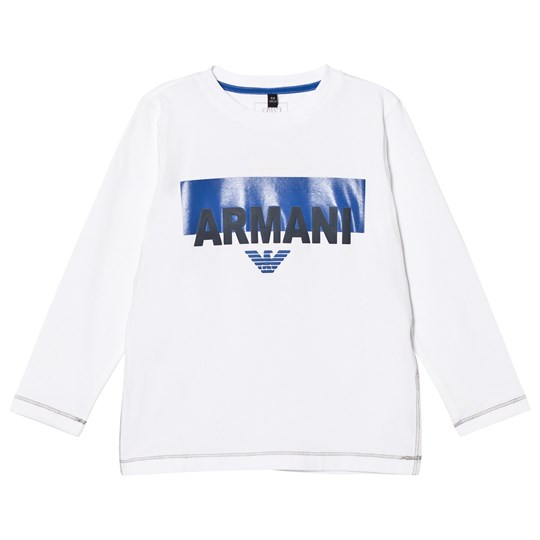 Armani Junior White Branded Long Sleeve Tee 1100