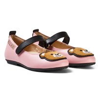 Moschino Kid-Teen Pink Leather Bear Applique Pumps ROSA NERO