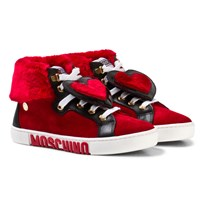 Moschino Kid-Teen Red Suede and Faux Fur Heart High Top Trainers ROSSO-NERO