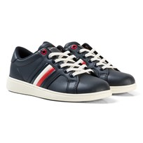Tommy Hilfiger Navy Branded Leather Lace Trainers 403