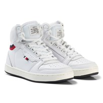 Tommy Hilfiger White Branded Lace Leather High Top Trainers 100