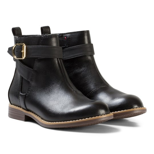 Tommy Hilfiger Black Aubrey Leather Ankle Boots 990