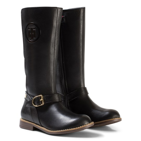 d180fc089090 Tommy Hilfiger - Black Aubrey Leather Tall Boots - Babyshop.com