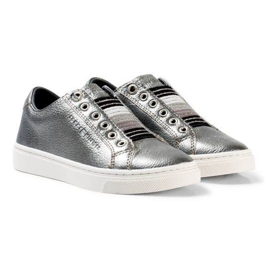 Tommy Hilfiger Silver Metallic and Glitter Slip On Trainers 042