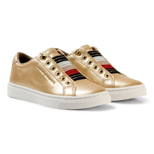 Tommy Hilfiger Gold Metallic and Glitter Slip On Trainers 058