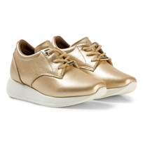 Tommy Hilfiger Gold Metallic Wedge Trainers 058