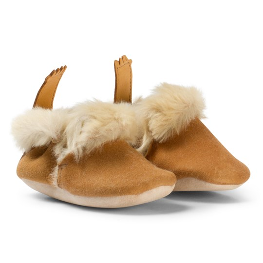 Easy Peasy Beige Oxi Minion Shearling Crib Booties 066