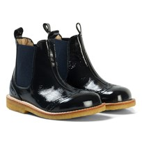 Angulus Navy Patent Brogue Chelsea Boots 1392