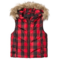 GAP Buffalo Plaid Puffer Hooded Vest Red