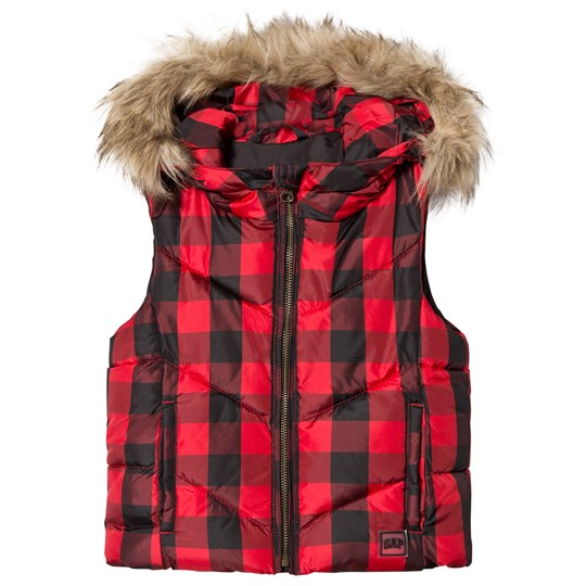 GAP Buffalo Plaid Puffer Hooded Vest Red Red Plaid