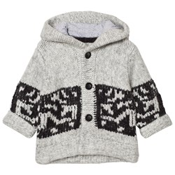 The Little Tailor Grey Chunky Knit Hoodie Cardigan