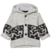 The Little Tailor Grey Chunky Knit Hoody Cardigan Black