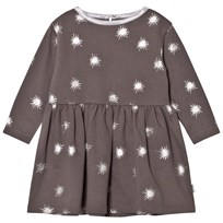 The Little Tailor Dark Grey Baby Girls Jersey Dress Charcoal Starbust