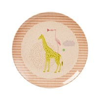 RICE A/S Kids Bamboo Melamine Lunch Plate w. Girls Animal Print Girls Animal Print