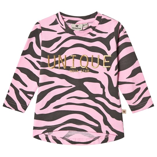 Nova Star Zebra Long Sleeve Top Pink/darkgrey
