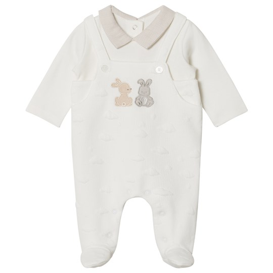 Mayoral Cream Dungaree Effect Textured Babygrow 14