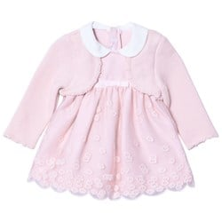 Mayoral Pink Embroidered Dress with Attached Cardigan