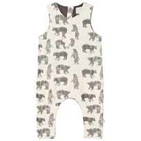 The Little Tailor Cream Bear Baby Boys Slouch Dungaree Cream