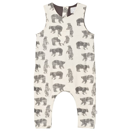 The Little Tailor Cream Bear Baby Slouch Dungarees Cream