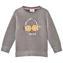Fendi Silver Lurex Metallic Fendirumi and Daisy Oversize Sweatshirt F0QWO