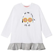Fendi White and Silver Fendirumi Jesey and Woven Dress F0QA0