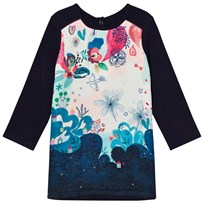Catimini Navy Bohème Floral Two Material Panel Dress 49