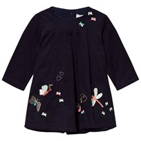 Catimini Navy Butterfly Embroidered Micro Cord Dress 48