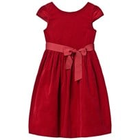 Ralph Lauren Red Corduroy Velvet Bow Dress 002