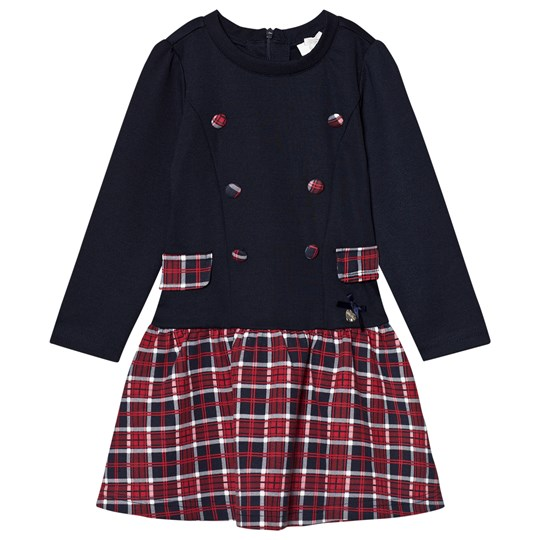 Le Chic Navy and Red Check Dress 190 Blue Navy