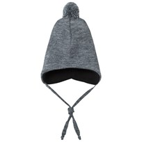 Geggamoja Knitted Helmet Hat Light Grey L.grey mel