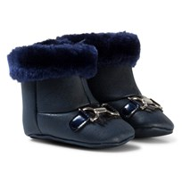 Mayoral Navy Patent Faux Fur Cuffed Boots with Gold Bow 10
