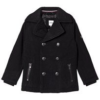 BOSS Black Wool Peacoat with Knit Collar