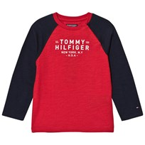 Tommy Hilfiger Red/Navy Branded Long Sleeve Tee 697