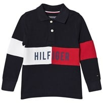 Tommy Hilfiger Navy Branded Long Sleeve Polo Shirt 431