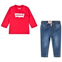 Levis Kids Red Batlog Long Sleeve Tee and Jeans Gift Set 99