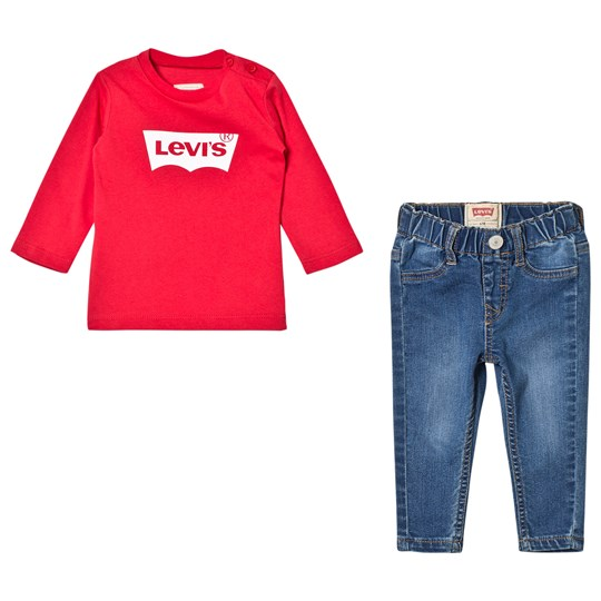 Levis Kids Red Batlog Long Sleeves Tee and Jeans Gift Box 99
