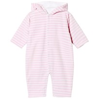 Kissy Kissy Pink Stripe Velour Hooded Onesie with Ears PK